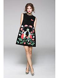 JOJO HANS Women's Casual/Daily Sheath DressSolid Print Round Neck Knee-length Sleeveless Nylon Fall Mid Rise Micro-elastic Medium