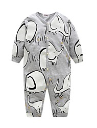 Baby Boy's Animal print One-Pieces,Cotton Summer Long Sleeve Gray
