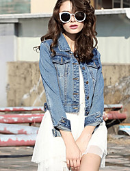 cheap -Women's Going out Simple Casual Spring Denim Jacket,Solid Shirt Collar Long Sleeve Short Polyester