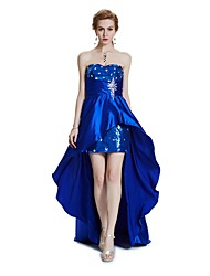 Sheath / Column Strapless Asymmetrical Satin Cocktail Party Prom Dress with Beading Crystal Detailing Draping Sequins