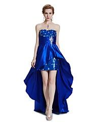 Mantel / Spalte trägerlosen asymmetrischen Satin Cocktail Party Abschlussball Kleid mit Perlen Kristall Detaillierung Drapieren Pailletten