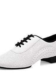 cheap -Men's Latin Shoes Nappa Leather Heel Low Heel Dance Shoes White / Indoor