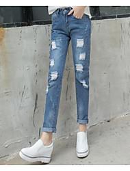 abordables -Mujer Tiro Alto Corte Recto / Vaqueros / Chinos Pantalones - Un Color / Verano