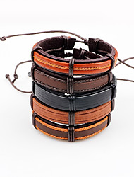 cheap -Men's Leather Bracelet Adjustable Multi-ways Wear Leather Line Irregular Jewelry For Casual Going out