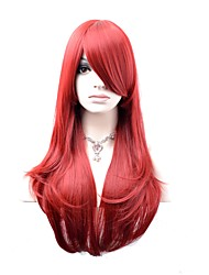 Women Synthetic Wig Capless Long Natural Wave Dark Red Natural Wig Costume Wigs