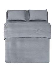 cheap -Solid 4 Piece Linen/Cotton Linen/Cotton 4pcs (1 Duvet Cover, 1 Flat Sheet, 2 Shams)