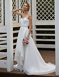 cheap -A-Line Sweetheart Asymmetrical Organza Wedding Dress with Sashes/ Ribbons Criss Cross by LAN TING BRIDE®