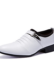 cheap -Men's Shoes Leather Fall Winter Formal Shoes Comfort Oxfords for Casual Office & Career Party & Evening White Black