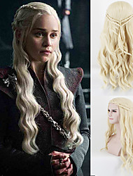 cheap -Dany Dragon Mother Loose Wave Light Blonde Braided Synthetic Cosplay Wigs