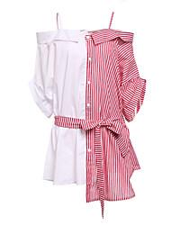 abordables -Mujer Vaina Vestido Trabajo Un Color A Rayas Bloques Con Tirantes Sobre la rodilla Asimétrico Manga Corta Algodón Primavera Tiro Medio