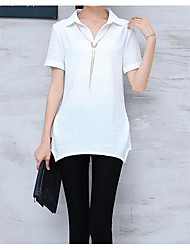cheap -Women's Cotton T-shirt - Solid Colored Stand