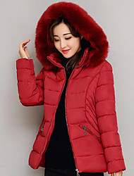 Women's Regular Padded Coat,Simple Casual/Daily Solid-Cotton Polypropylene Long Sleeves