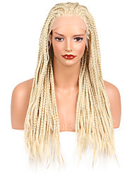 cheap -Women Synthetic Wig Lace Front Long Light Blonde Braided Wig Natural Hairline Party Wig Halloween Wig Natural Wigs Costume Wig
