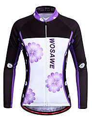 cheap -WOSAWE Women's Long Sleeves Cycling Jersey - Violet Bike Jersey, Quick Dry