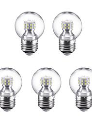 baratos -5pçs 3W 250lm E27 Lâmpada Redonda LED G45 24 Contas LED SMD 2835 Branco Quente Branco Frio 220V
