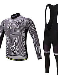 cheap -Men's Long Sleeves Cycling Jersey with Bib Tights - Black Bike Clothing Suits, Quick Dry, Sweat-wicking, 3D Pad