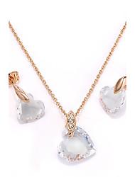 billige -Dame Kvadratisk Zirconium Smykkesæt - Guldbelagt Hjerte Bohemisk Omfatte Stangøreringe / Halskædevedhæng Guld Til Fest