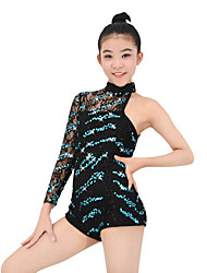 cheap -Latin Dance Leotards Performance Polyester / Spandex / Sequined Sequin Sleeveless / Long Sleeve Natural Leotard / Onesie / Hair Band