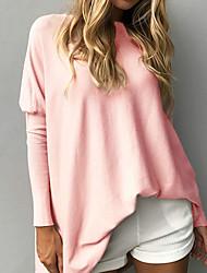preiswerte -Damen Langarm Lang Pullover - Solide Rundhalsausschnitt