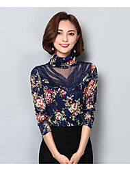 Women's Casual/Daily Simple Blouse,Floral Turtleneck Long Sleeves Polyester
