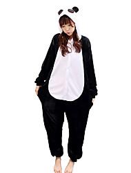abordables -Pijama kigurumi Oso Panda Pijama Mono Pijamas Disfraz Franela de Algodón Negro / blanco Cosplay por Adulto Ropa de Noche de los Animales