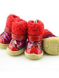 preiswerte -Hund Schuhe und Stiefel Lässig/Alltäglich warm halten Wasserdicht Schneestiefel Punkt Schwarz Rot Für Haustiere
