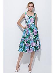 cheap -STEPHANIE Women's Daily Going out Cute Casual Loose Sheath Dress,Floral Strap Midi Knee-length Sleeveless Silk Summer Mid Rise Micro-elastic Opaque