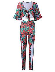 T-shirt Pantalone Completi abbigliamento Da donna Feste Per eventi Serata Vintage Sensuale Boho Primavera Autunno,Fantasia floreale Retrò