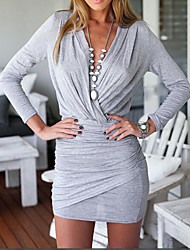 Women's Daily Casual Sheath Dress,Solid Deep V Mini Above Knee Long Sleeves Cotton Summer High Rise Stretchy Thin