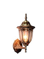 Udendørs væglampe, 1 lys, Traditionel Aluminium Glas Maleri