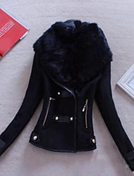 cheap -Women's Going out Simple Casual Winter Leather Jacket,Solid Shawl Lapel Long Sleeve Short PU