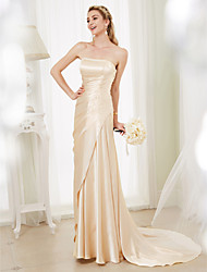 cheap -Sheath / Column Strapless Court Train Stretch Satin Made-To-Measure Wedding Dresses with Beading / Side Draping by LAN TING BRIDE®