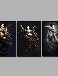 abordables -apsaras varianza 3 paneles decoración de la pared pinturas al óleo pintadas a mano sobre lienzo obras de arte moderno arte de la pared