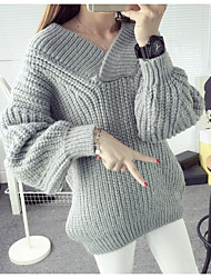 Women's Casual/Daily Simple Short Pullover,Solid Round Neck Long Sleeves Polyester Spring Fall Thin Stretchy