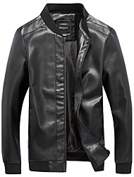 Men's Plus Size Casual Slim Stand Collar Locomotive Leather Jacket