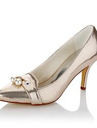 Women's Heels Basic Pump Fall Winter Leatherette Wedding Dress Party & Evening Imitation Pearl Stiletto Heel Champagne 3in-3 3/4in