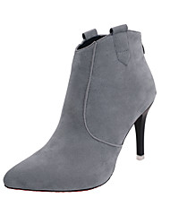 Women's Boots Comfort Fall Winter Leatherette Office & Career Party & Evening Stiletto Heel Khaki Gray Black 2in-2 3/4in