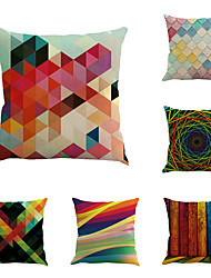 Set Of 6 Abstract Colorful Geometry Linen Pillow Cover Creative Irregular Printing Pillow Case Home Decor