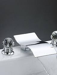 economico -Moderno A 3 fori Cascata Valvola in ottone Due maniglie Tre fori Cromo, Lavandino rubinetto del bagno