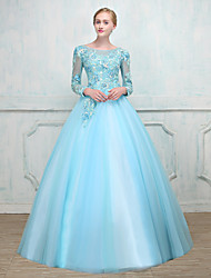 cheap -Ball Gown Scoop Neck Floor Length Lace Over Tulle Prom / Formal Evening Dress with Beading Lace by LAN TING Express
