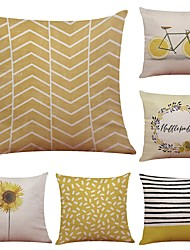 Set of 6 Bike Sunflower Pattern Linen Cushion Cover Home Office Sofa Square Pillow Case Decorative Cushion Covers Pillowcases (18*18Inch)