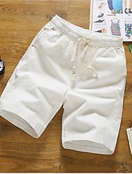 abordables -Hombre Tallas Grandes Corte Recto Delgado Shorts Chinos Pantalones - Un Color