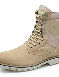 Men's Boots Motorcycle Boots Combat Boots Cowhide Suede Fall Winter Casual Outdoor Office & Career Lace-up Flat Heel Beige Flat