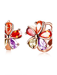 Women's Hoop Earrings Fashion Zircon Flower Jewelry For Wedding Daily Casual Evening Party Office & Career