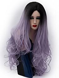 жен. Парики из искусственных волос Без шапочки-основы Длиный Естественные волны Фиолетовый Волосы с окрашиванием омбре Парик из