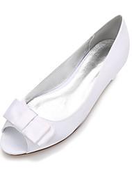 cheap -Women's Shoes Satin Spring / Summer Ballerina / Comfort Wedding Shoes Flat Heel Peep Toe Bowknot / Satin Flower / Flower for Wedding /