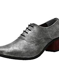 abordables -Hombre Zapatos Cuero Verano Otoño Confort Suelas con luz Oxfords Paseo Para Fiesta y Noche Negro Plateado Rojo Azul