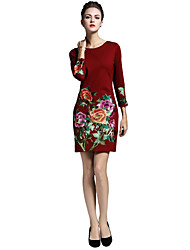 Women's Going out Casual/Daily Work Boho Chinoiserie Sophisticated A Line Dress,Embroidered Round Neck Above Knee 3/4 Length Sleeves Nylon