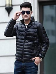 preiswerte -Herren Daunen Mantel Einfach Ausgehen Lässig/Alltäglich Solide-Andere Weiße Entendaunen Langarm