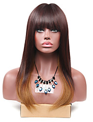 Long Brown Ombre Straight Wig for Women Costume Cosplay Synthetic Wigs
